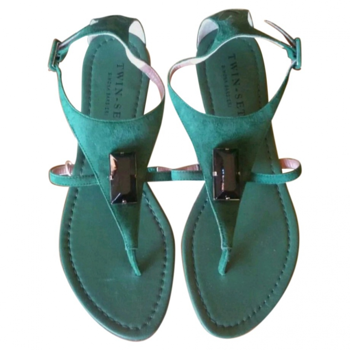 Twin Set \N Sandalen in  Gruen Veloursleder