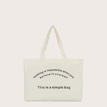 Letter Graphic Shopper Bag