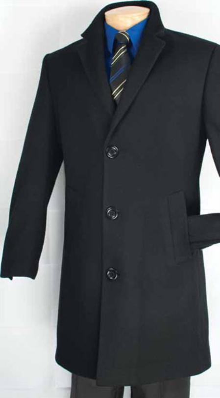 Mens Car Coat Collection in a Soft Cashmere Blend Black