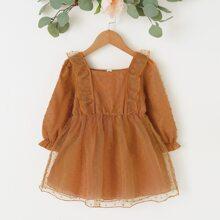 Vestidos para niña pequeña Volante Liso Dulce