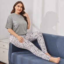 Plus Solid Tee & Allover Print Pants Pajama Set