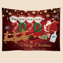 1pc Santa Claus Print Tapestry