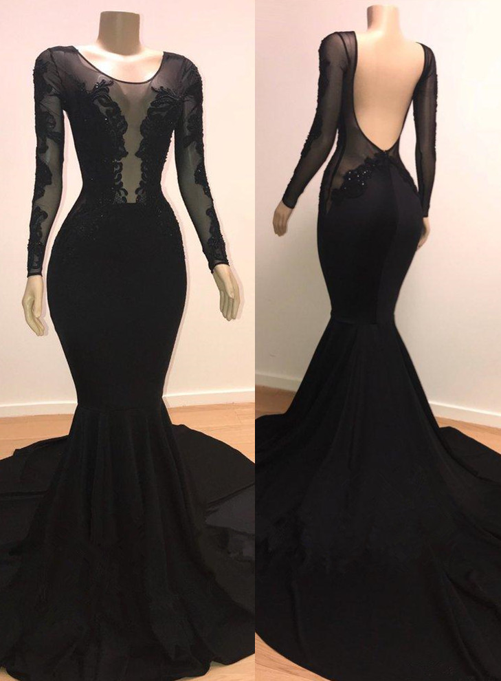Unique Scoop Long Sleeves Backless Appliques Tulle Mermaid Prom Dresses