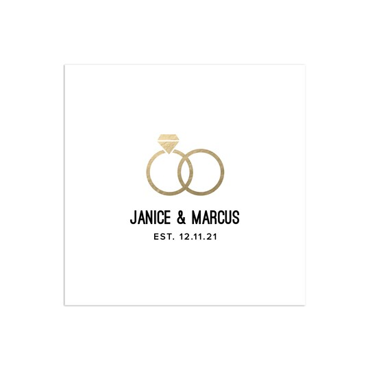 100 Pack of Gartner Studios® Personalized A Nice Ring To It Foil Wedding Napkin in White | 6.5