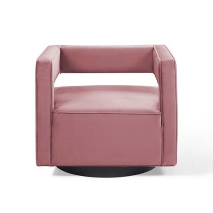 Booth Collection EEI-3948-DUS Armchair with Swivel Base  Squared Cutaway Design  Dense Foam Padding  Matte Black Iron Base and Stain-Resistant Velvet
