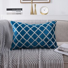 Velvet Lattice Lumbar Pillow Without Filler