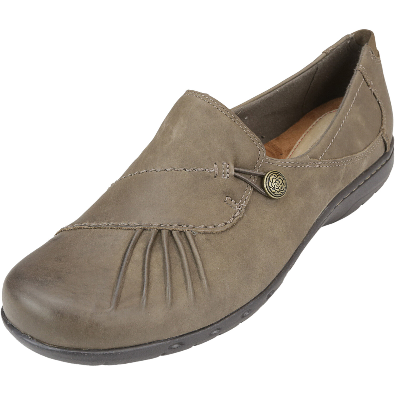 Rockport Women's Cobb Hill Paulette Stone Ankle-High Leather Slip-On Shoes - 11W