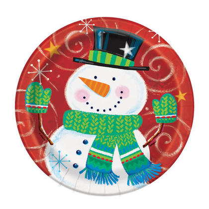 Happy Snowman Swirl Holiday Paper Dessert Plates for Home Party Decor, 7 inch, 8ct