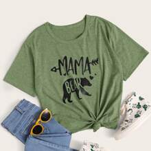 Letter And Animal Graphic Tee