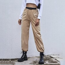 Flap Pocket Drawstring Hem Buckle Cargo Pants
