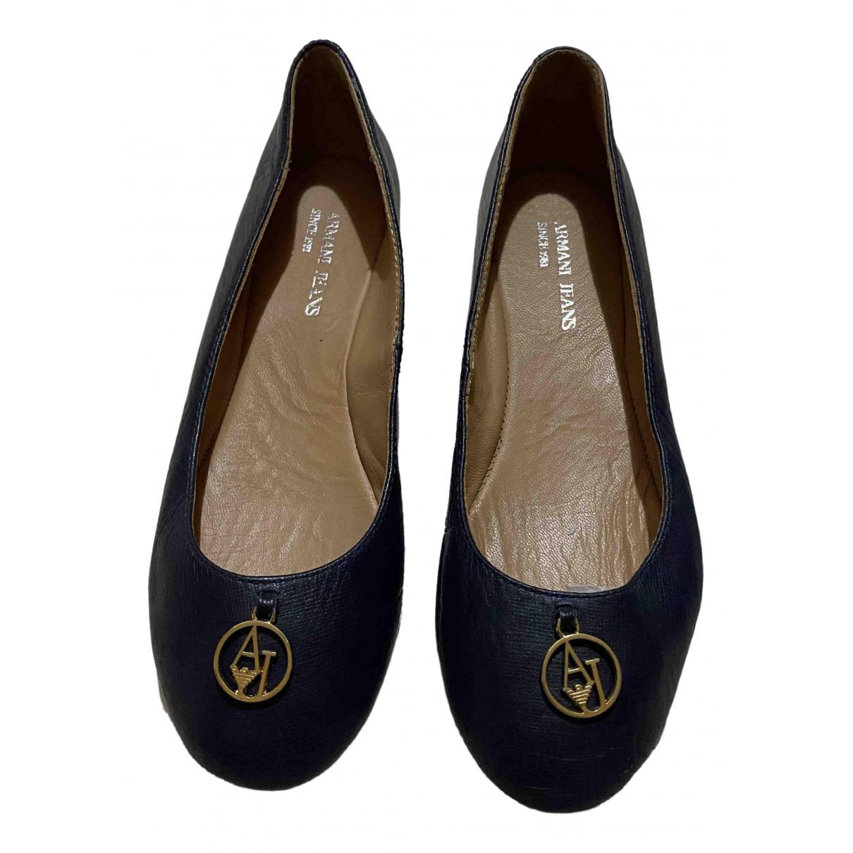 Armani Jeans \N Ballerinas in  Blau Leder