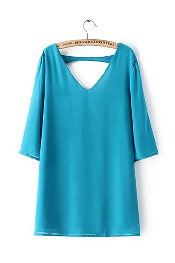 Yoins V-neck Triangle Cutout Mini Dress in Blue