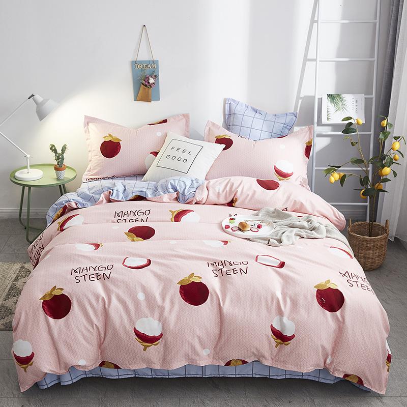 Manggis Colorfast Pink Duvet Cover Set 4-Piece Reactive Printing Polyester Zipper Bedding Sets