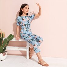 Girls Ruffle Cuff Floral Print Jumpsuit