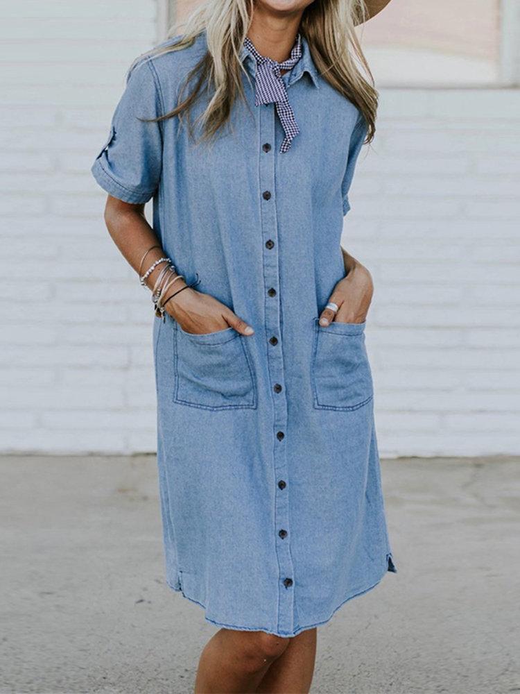 Summer Solid Color Denim Loose Plus Size Dress