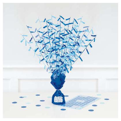 Birthday Glitz Blue Foil Balloon Weight Centerpiece