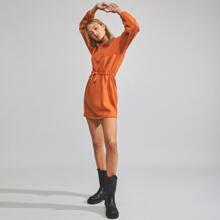 Drop Shoulder Drawstring Waist Sweatshirt Dress