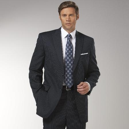 Mens Navy Stripe Peak Lapel affordable suit online sale