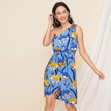 One Shoulder Asymmetrical Hem Floral Dress
