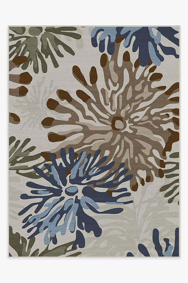 Washable Rug Cover & Pad | Genevieve Floral Natural Rug | Stain-Resistant | Ruggable | 9'x12'