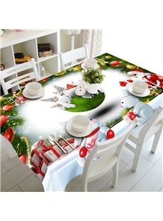 3D Cute Rabbits and Christmas Gifts Printed Festival Scenery Oil-Proof and Durable Table Cloth