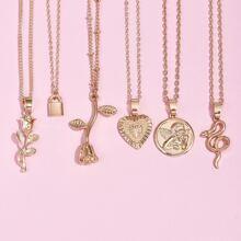 6 piezas collar con cerradura y corazon