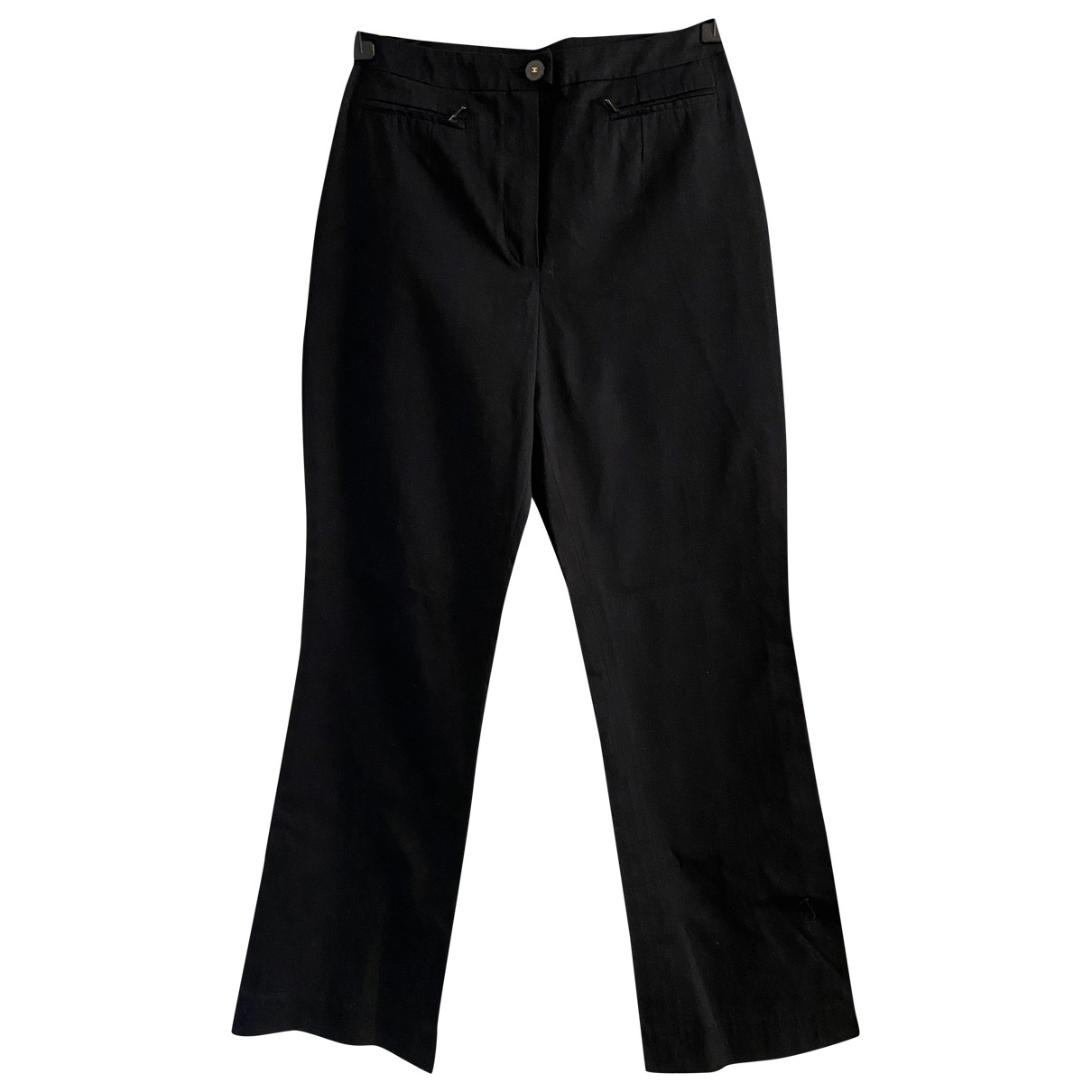Chanel \N Black Cotton Trousers for Women 38 FR