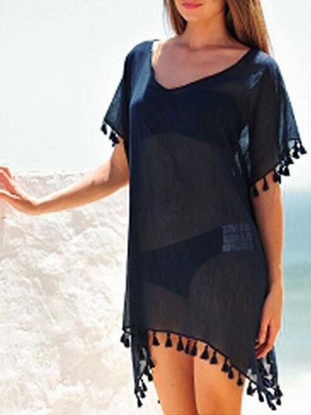 Milanoo Women Cover Up V Neck Short Sleeve Fringe Casual Beach Dress
