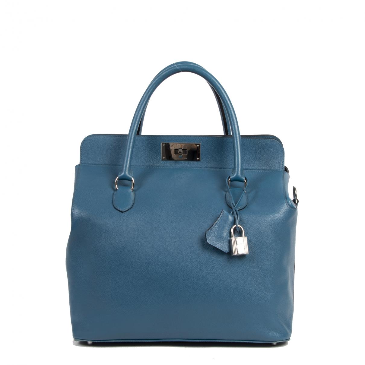Hermes - Sac a main Toolbox pour femme en cuir - bleu