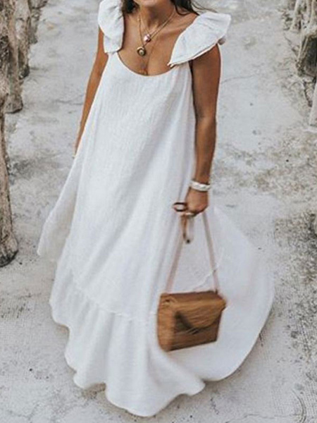 Milanoo Maxi Dress Sleeveless White Straps Neck Polyester Floor Length Dress