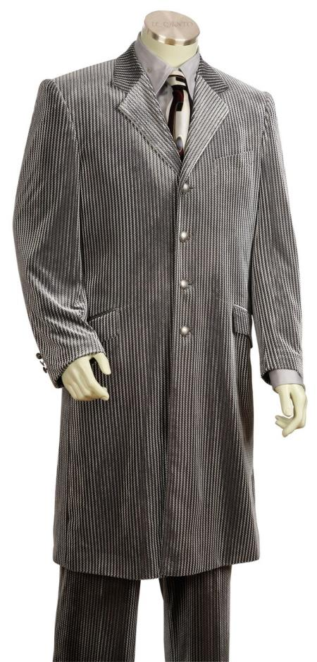 Mens Ribbed Velvet Single Breasted Notch Lapel Zoot Suit Grey
