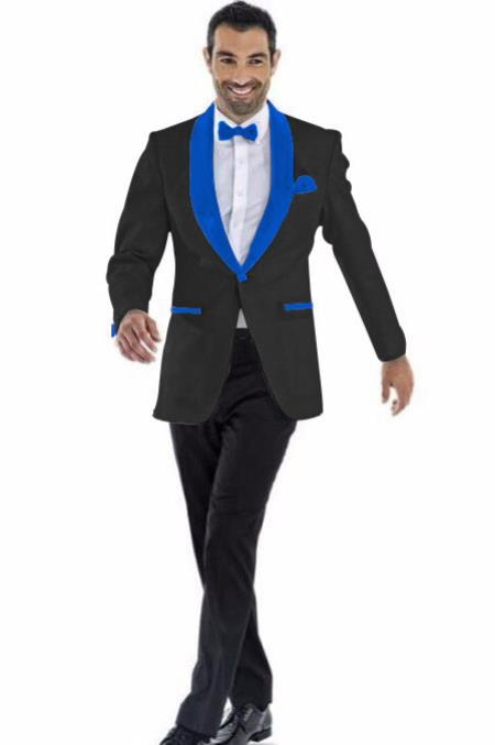 Mens Blazer Black ~ Royal Blue