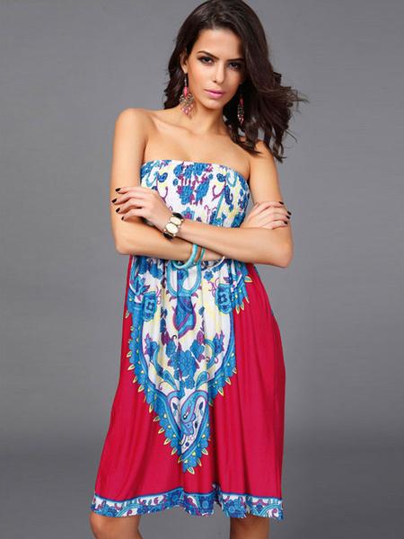 Milanoo Vestido de verano de spandex con estampado