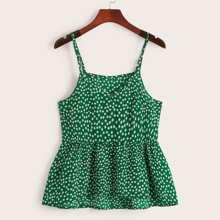 Cami Top mit Gaensebluemchen Muster und Rueschen
