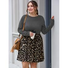 Combo Kleid mit Kontrast Leopard Muster