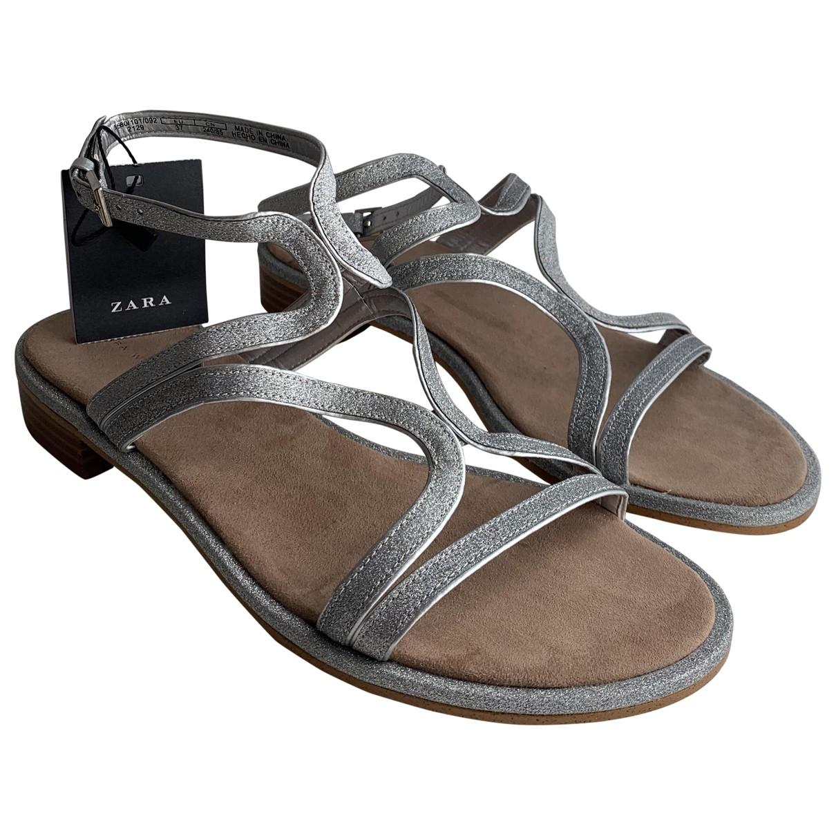 Zara \N Sandalen in  Silber Polyester
