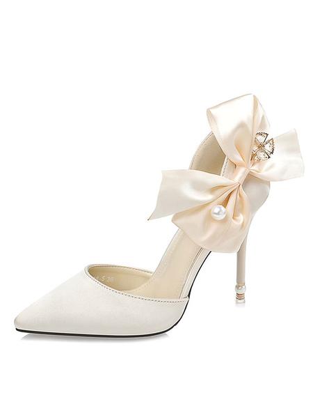 Milanoo Satin Wedding Shoes High Heel Black Pointed Toe Bow Slip On Pumps