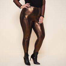 Metallische Leggings mit elastischer Taille