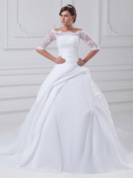 Milanoo Vestido de novia blanco de tafetan sin tirantes de cola larga