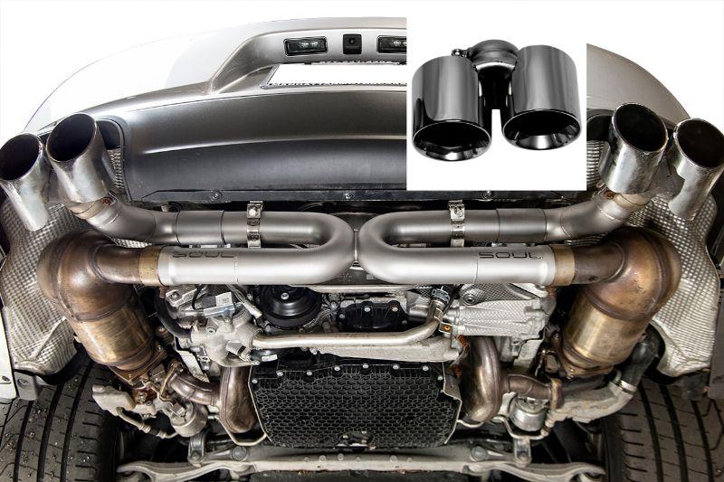 Soul Performance Street Package Non-PSE Performance Exhaust System Straight Black Chrome Tips S Model Porsche 991.2 Carrera 17-19