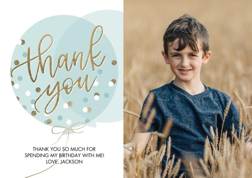 Thank You Cards Flat Glossy Photo Paper Cards with Envelopes, 5x7, Card & Stationery -Thank You Balloon Dots by Tumbalina