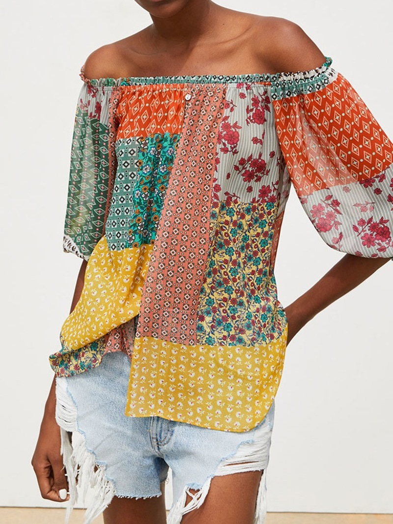 Ericdress Color Block Print Off Shoulder Button Lantern Sleeve Blouse
