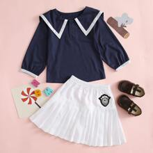 Toddler Girls Contrast Binding Blouse & Badge Patched Pleated Skirt