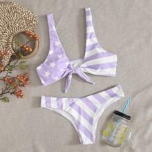 Bikini Badeanzug mit Stern & Streifen und Knoten vorn