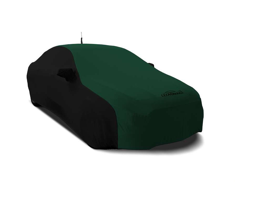 Coverking CVC3SS290DG9610 CVC3SS290 Satin Stretch 2-Tone Black Sides British Racing Green Center Custom Car Cover Dodge Challenger 15-19