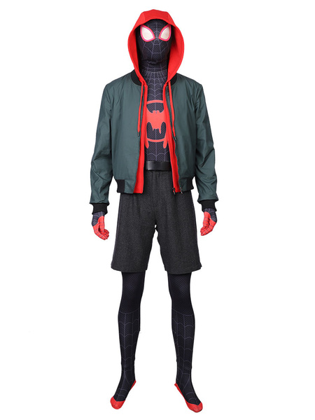 Milanoo Marvel Comics Spider Man Into The Spider Verse Miles Morales Movie Spider Man Carnival Cosplay Costume Deluxe Edition