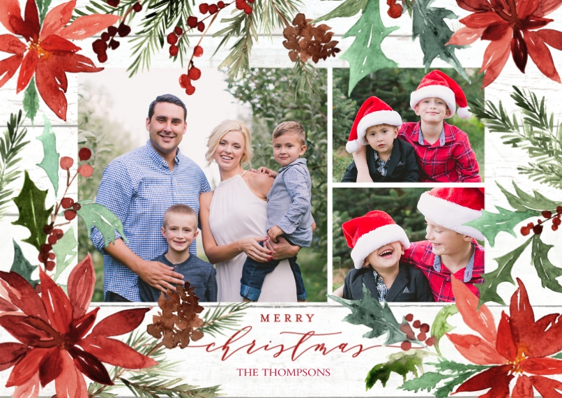 Christmas Photo Cards 5x7 Cards, Standard Cardstock 85lb, Card & Stationery -Christmas Painted Poinsettias by Tumbalina