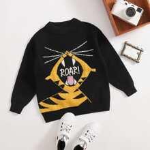 Pullover mit Tiger & Buchstaben Muster und Stehkragen