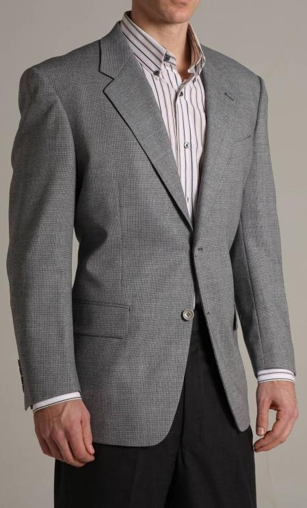 Single Breasted Greyish Blue Two buttoned Super 100 Wool Sports Jacket