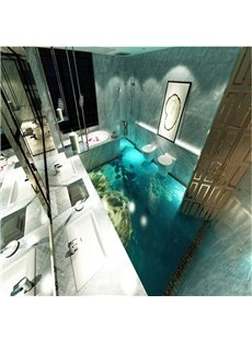 Attractive Transparent Fishes in the Sea Scenery Pattern Nonslip and Waterproof 3D Floor Murals